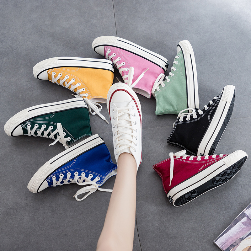 Replica classic fashion women's shoes high shoes multiple colors 2019 new low to help vulcanized shoes 35-44 casual wild student(China)