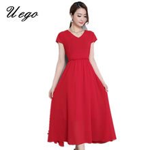 97e859f231 Uego Soft Chiffon Long Summer Dress V-neck Short Sleeve Slim Waist Office  Lady OL Work Dress 2018 New Women Beach Casual Dress