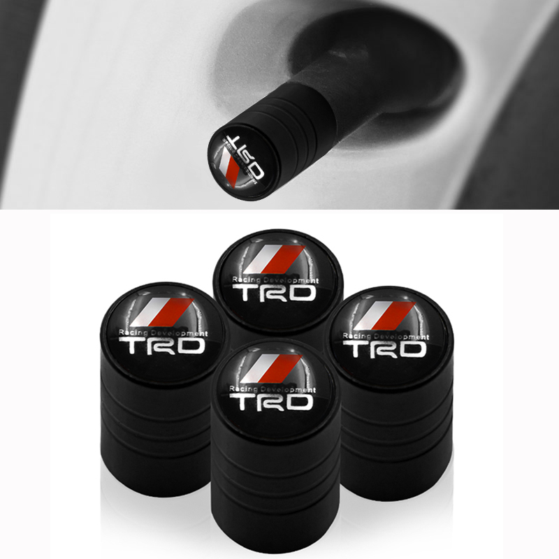 4PCS/set Car-styling Wheel Tire Parts Valve Stem Caps Cover For Toyota CROWN COROLLA REIZ TRD Racing LOGO Tire Car Accessories