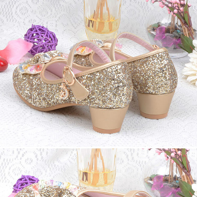 1_112016 spring Kids Girls High Heels For Party Sequined Cloth Blue pink Shoes Ankle Strap Snow Queen Children Girls Pumps Shoes