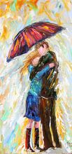 Original Abstract Figure Oil Painting Umbrella Rain Couple Modern Impressionism Palette Knife FIne Art by Karen Tarlton