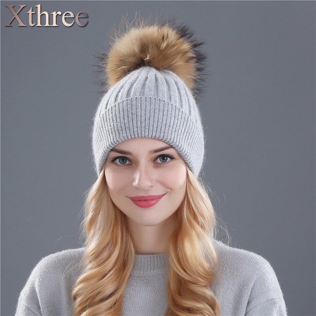 Xthree winter hat for women wool knitting hat beanies 15cm real mink fur pom poms Shiny Rhinestone hat Skullies girls hat