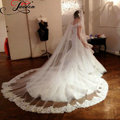 JAEDEN GM015 2017 Light Ivory Hot Sale Elegant Lace Edge Cheap New 1T Cathedral Length Wedding Bridal Veil With Comb
