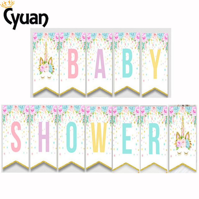 cyuan unicorn happy birthday garland banner bunting birthday party