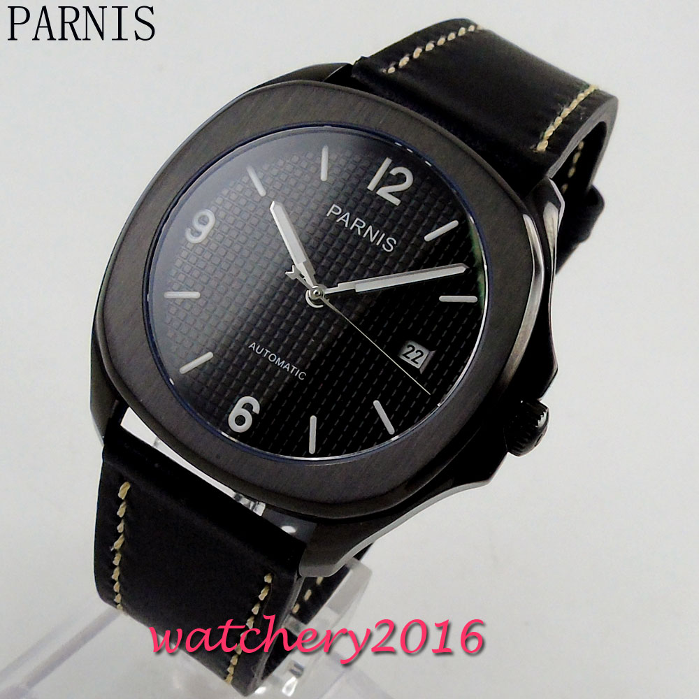 купить New 40mm Parnis black dial PVD case sapphire glass date adjust 21 jewels miyota Automatic movement Men's Wristwatch по цене 6335.34 рублей