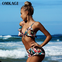 OMKAGI Newest Bikinis Women Swimwear Swimsuit Colorful Hight Waist Bikini Set Push Up Bathing Suit Beachwear 2017 New Arrival