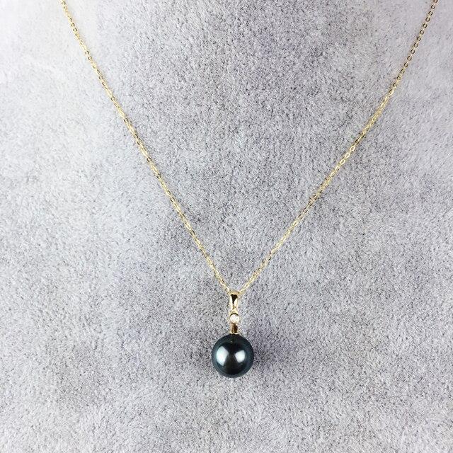 AINUOSHI 18 K Oro Amarillo Natural Tahiti Black Pearls Colgante Collar para Las Mujeres Compromiso de La Boda de Cumpleaños Cadena de Eslabones 9-10mm
