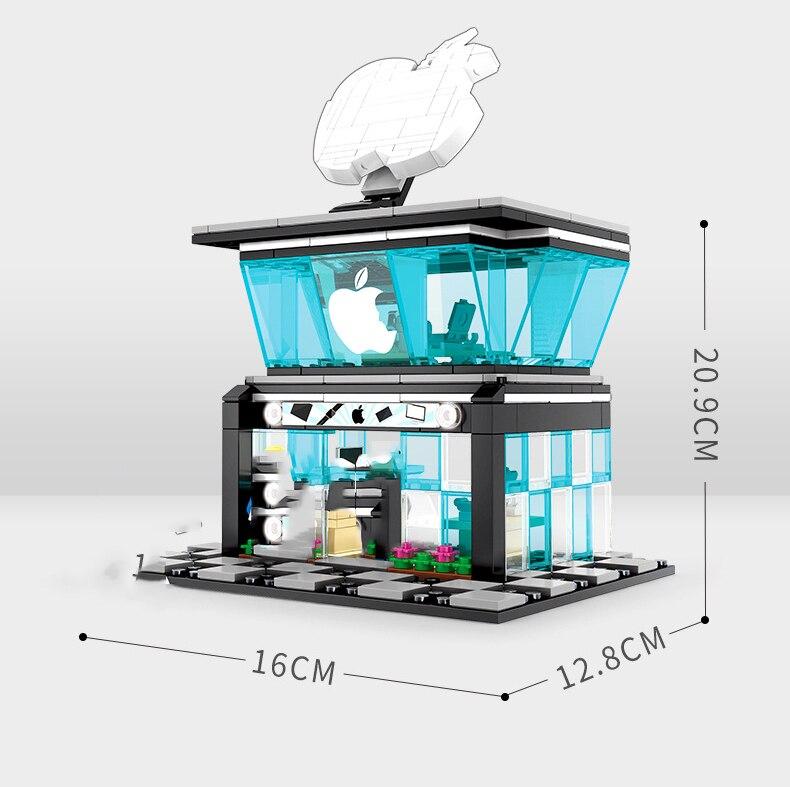 Street Hamburger Cafe Retail Convenience Store Architecture Building Blocks Compatible Legoed Technic City Street View Brick Toy 38