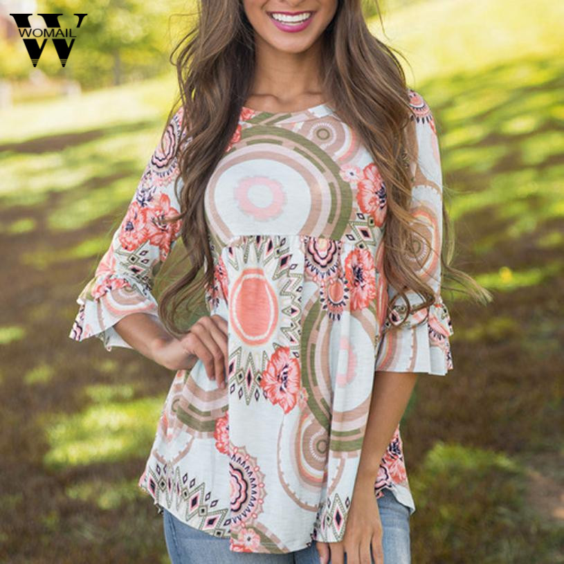 Womail Fashion Flare Sleeve Women O Neck Floral Print Blouse Casual Tops Shirt women blouses summer 2018