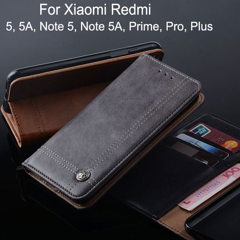 Case for Xiaomi Redmi Note 5 5A pro plus prime Y1 Lite Luxury Leather phone Case Flip cover Stand Card Slot Without magnet funda