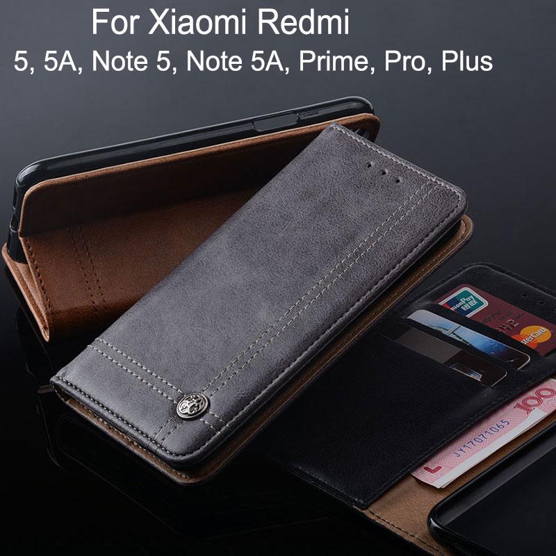 Caso para Xiaomi Redmi Nota 5 5A pro plus prime Y1 Lite lujo cuero teléfono caso Flip cubierta de la tarjeta ranura sin imán funda