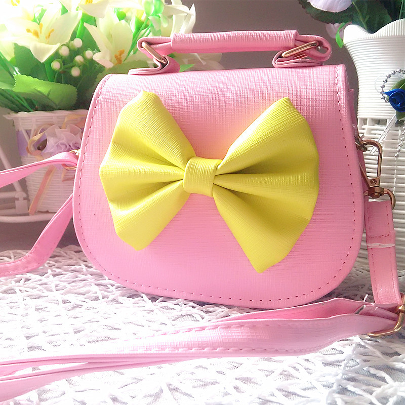 2017 Cute Kids Children Mini Bag PU Leather Bow Shoulder Bags for teenager girls princess party handbag purse clutch girl gift