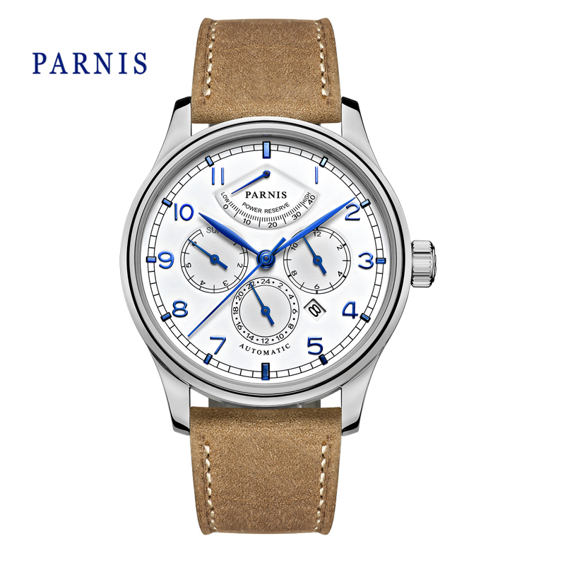 Casual 43mm Parnis Automatic Power Reserve White Dial Blue Numbers Silver Watch Case Business Watch Men  casual 43mm parnis automatic power reserve white dial blue numbers silver watch case business watch men