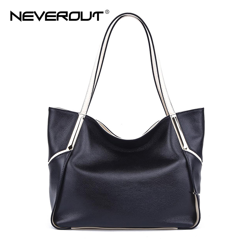 NeverOut genuine Fashion Leather Casual Tote for Women Handbags Top-Handle Bags Lady Shoulder Sac Bag Brand Name Handbag Bags 2pcs set vintage handbags women messenger bag female purse solid shoulder office lady casual tote genuine leather top handle bag