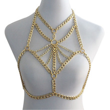 цена на Wholesale Sexy Bra Bikini Chain Body Chain Layered Neckace Chocker Chain Gold Silver Color Backless Halter Jewelry for Women