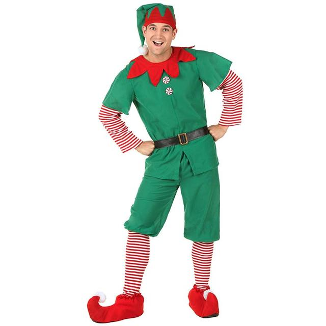 Adult Elf Costume Men's Halloween Clothes Suit Included 6pcs/Set Green Elf Cosplay Costumes Spread Cheer For Christmas Holiday