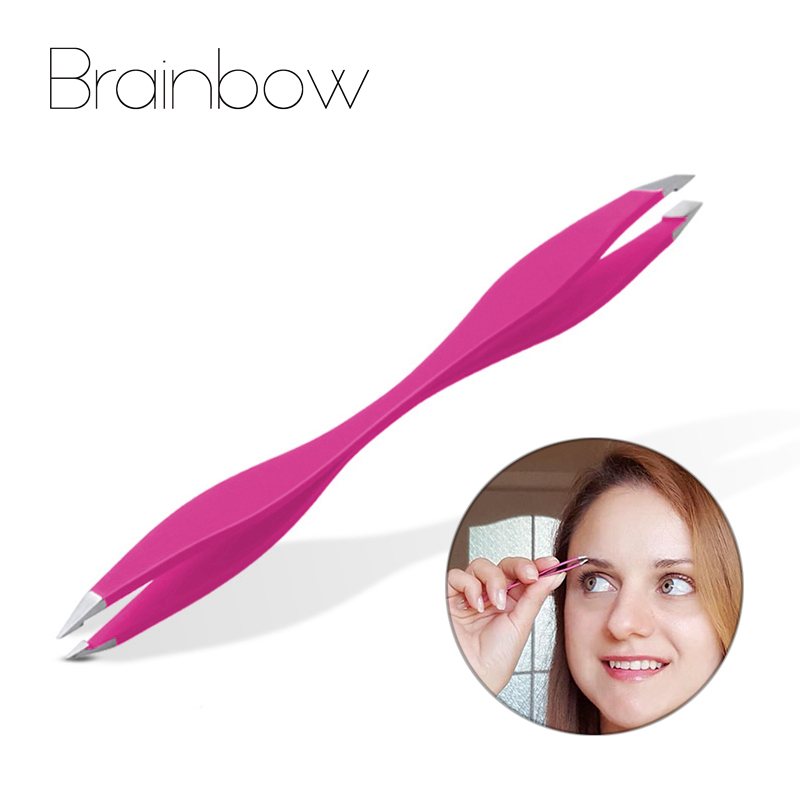 Brainbow 1piece Tweezers Rose Beauty Makeup Tools Double Ends Eyebrow Tweezer Anti-Static Eyelash Extension Pincet for Maquiagem