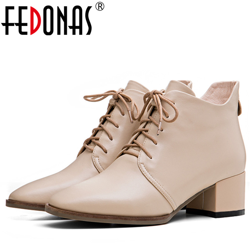 FEDONAS Fashion Women Genuine Leather Ankle Boots Sexy Lace Up Autumn Winter Martin Shoes Woman Thick High Heeled Short Boots