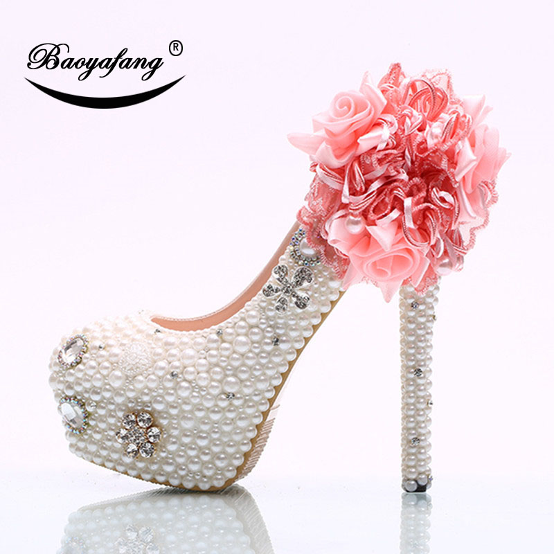 2019 New Arrival Womens Wedding Shoes White Pearl Bridal