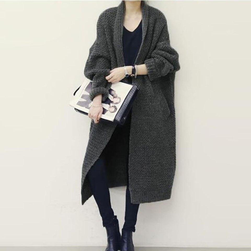 Vintacy Women Cardigan Solid Full Sleeve Sweater Thick Coarse Wool Knitwear 2018 Modern Casual Women Cardigan