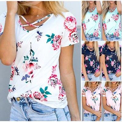 b8ed383253 Royaume Imprimé Shirt Dames Fleur Vêtements Floral rose blanc Tops À  Blouses dark Courtes Manches T shirts ...