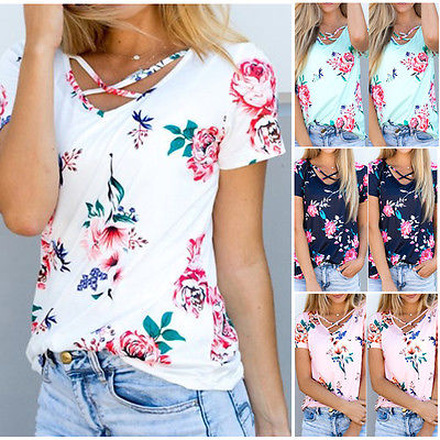 0c830ac79a050 UK Womens Floral Printed Blouse Summer Short Sleeve Ladies Casual Shirt  Tops Ladies Women Flower Blouses Clothing