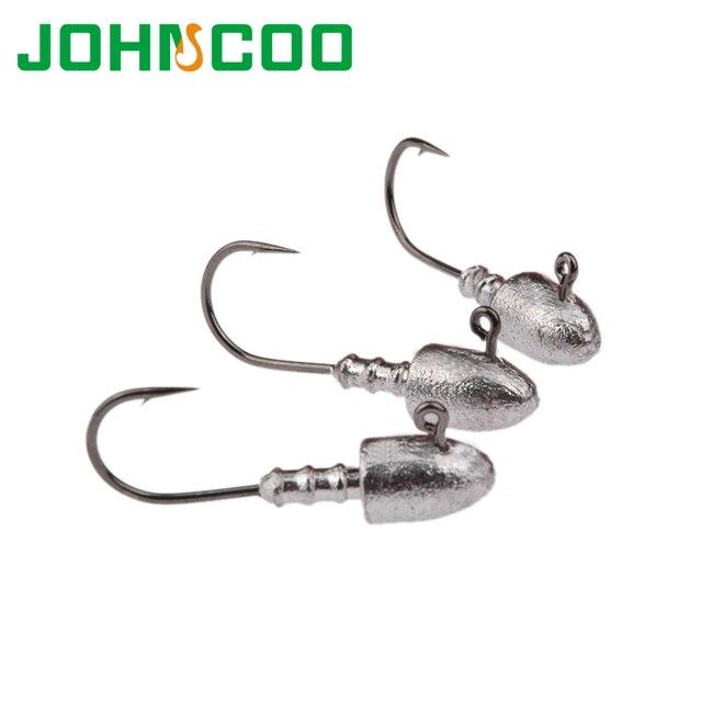 JOHNCOO 6pcs Exposed Lead Jig Head Hook 2.5g 5g 7g 10g 15g 18g Lead Head Hook Jigs Bait Fishing Hooks For Soft Lure Fishing Hook