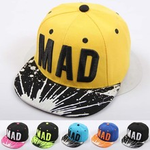 2016 Trend Snapback Bone Child Embroidery MAD Letter Baseball Caps Kid Boys And Girls Flat Hip Hop Cap цена