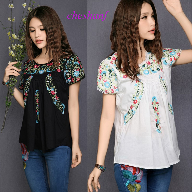 2020 Hot Sale Free Shipping Vintage 70s SCALLOP Mexican BOHO Ethnic Floral Embroidered Hippie Blouses Shorts Women Tops Free Sz