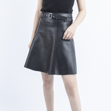 Midi skirt Sheepskin leather High Waist Skirt black genuine A-line womens skirts