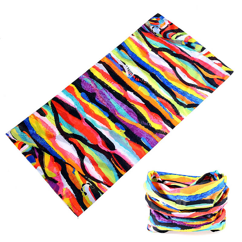 Buffe New Design Rainbow Stripe Graffiti Headbands Multi Use Hiking Running Fishing Cycling Bandanas Tube Neck Scarf Face Mask