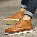 Autumn New Fashion High Top Men's Oxfords British Vintage Carve Lace Up Mens Flats Thick Heel Comfortable Male Bullock Shoes