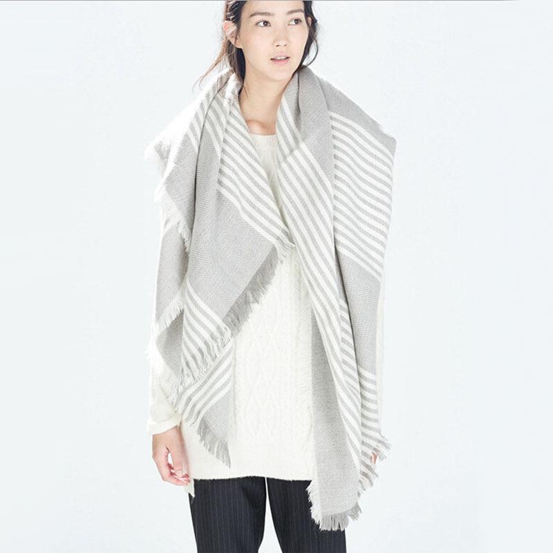 Luxury Brand Kallove halsduk za vinter stor fyrkant Scarf Plaid Women - Kläder tillbehör - Foto 6
