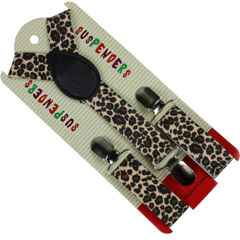 HUOBAO Fashion 2.5cm Wide Animal Leopard Print Y Back Suspenders For Children Baby Boys Elastic Braces Kids Brace Suspenders