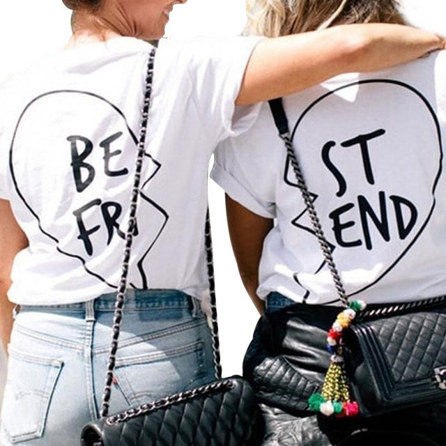 65b640dd6 New Fashion Graphic Tees Best Friends T shirt fro Girls Summer 2018 Women  Printed Casual T Shirt Femme Clothing Funny T-shirts