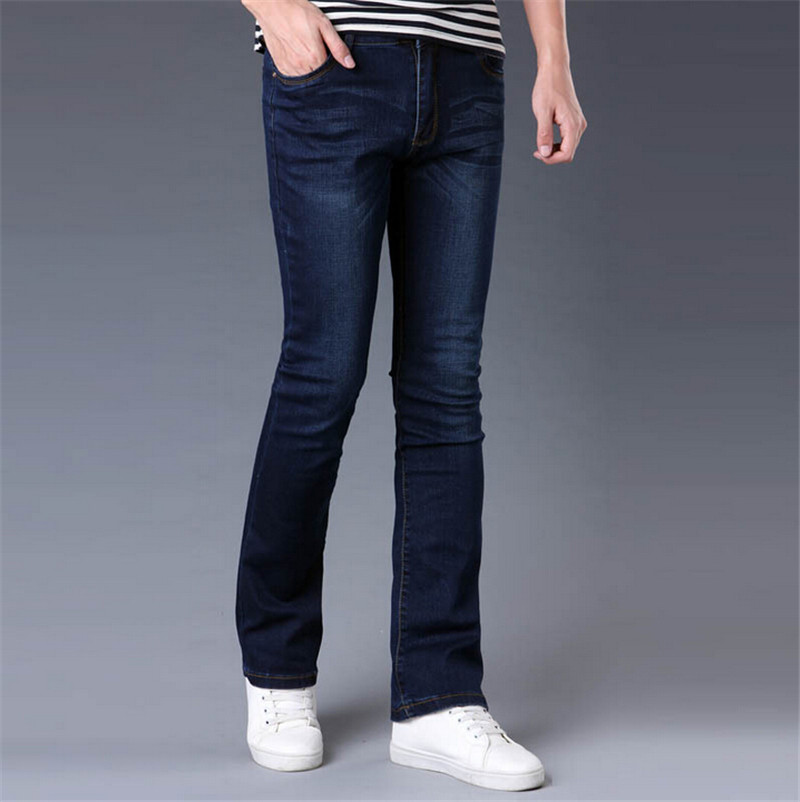 ФОТО Free Shipping High Quality Men's Spring Autumn Boot cut jeans Male Business Casual Blue Flares Pants Mid Waist Denim Trousers