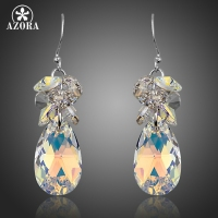 AZORA Gorgeous Cluster Gradual Change Stellux Austrian Crystal Water Drop Earrings For Women TE0256