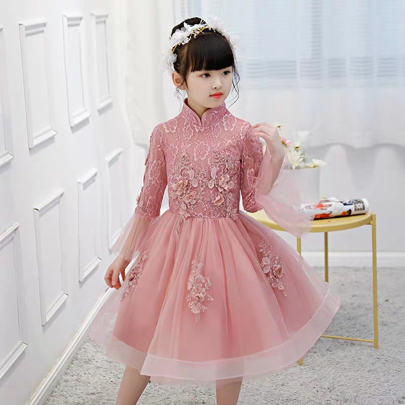 High-Quality Children Girls Embroidery Lace Chinese Wedding Birthday Party Princess Dress Kids Model Show Piano Costume Dress
