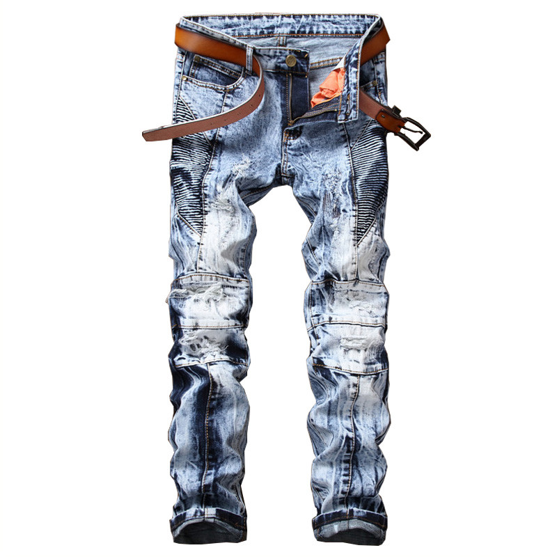 High Quality for Men Blue Ripped Jeans Destroyed Straight Slim Mens Hip Hop Biker Pleated Denim Pants Knee Zipper Jeans 2017 fashion patch jeans men slim straight denim jeans ripped trousers new famous brand biker jeans logo mens zipper jeans 604