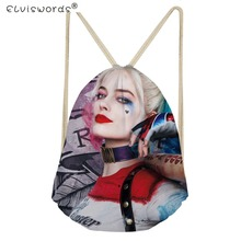 ELVISWORDS Casual Girls Small Drawstring Backpack Harley Quinn Joker Pattern Kids Mochila Drawstring Bags for Boys School Bags