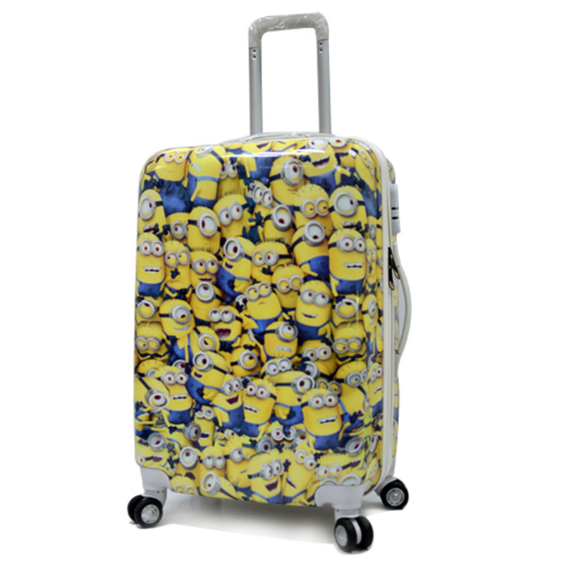 KUNDUI Students computer Trolley Bag, ABS+PC Travel Bags Suitcase,Cartoon Large Capacity Travel Suitcase Luggage Scroll Wheels
