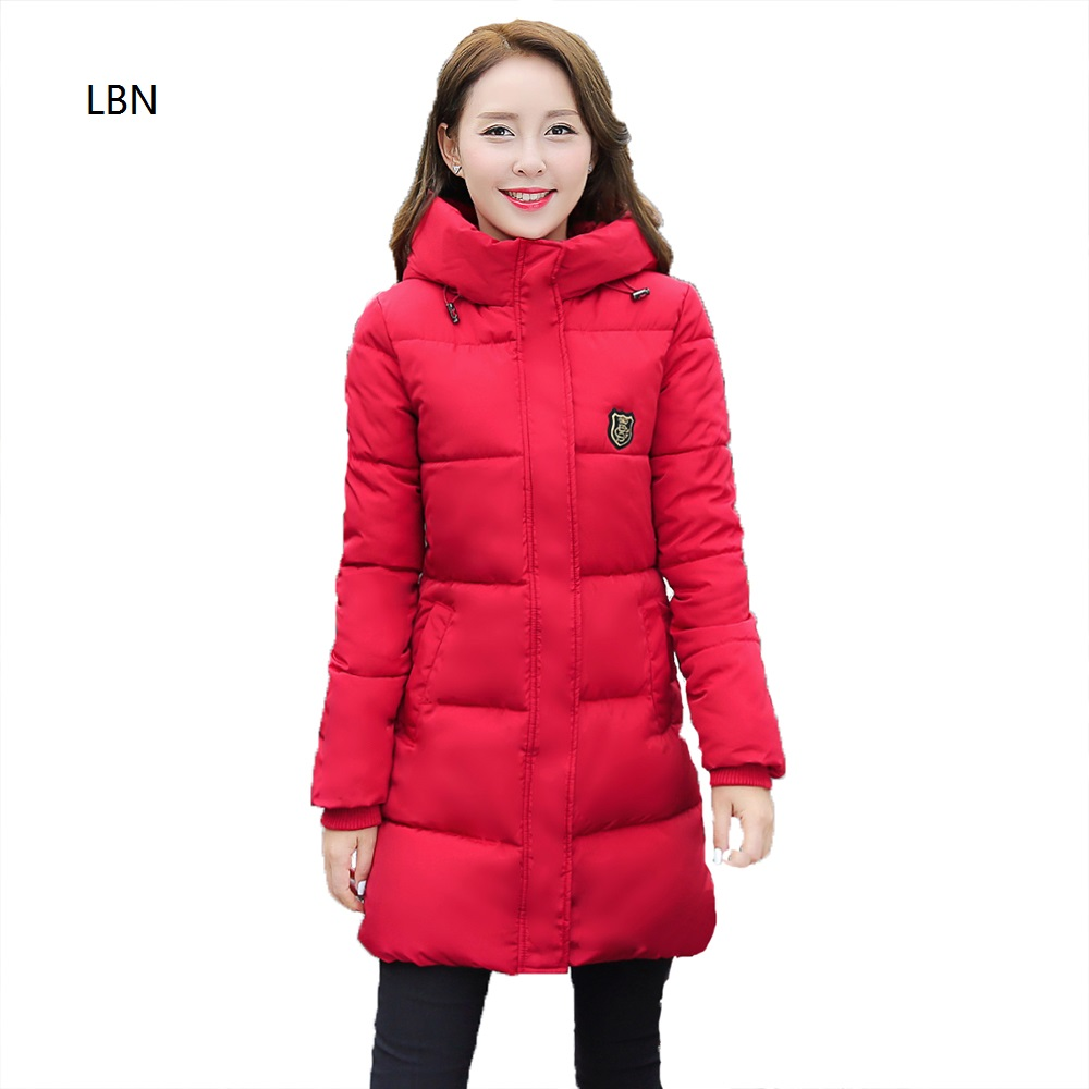 Brand New Fashion Long Winter Jacket Women Slim Female Coat Thicken Parka Cotton Clothing Red Thick Hooded Parkas Overcoat 2017 new fashion winter women cotton padded jacket thick warm hooded long parka slim winter coat women parkas overcoat fp0002
