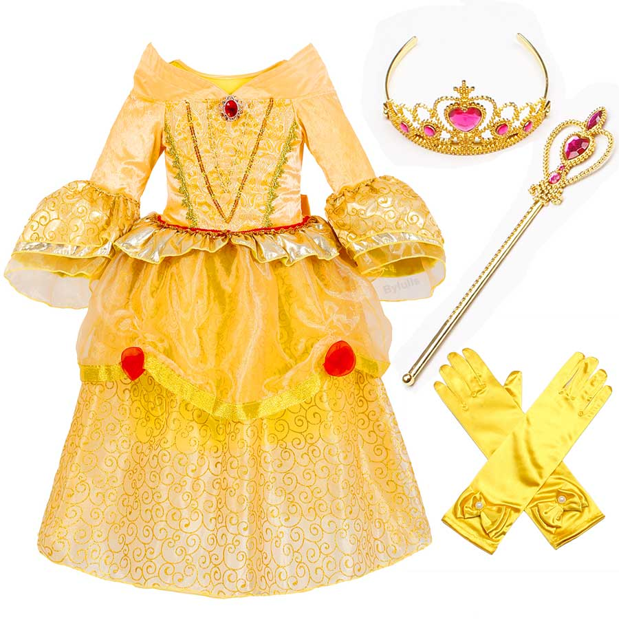5 Layers Beauty and The Beast Costume Girls Princess Belle Costumes with Crown Deluxe Party Dresses Fancy Belle Dress Up Clothes