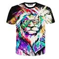 2016 new arrivals homens da camisa de t marca de moda clothing cool 3d leão impresso t camisa hip hop hot estilo mma camiseta homme camisetas