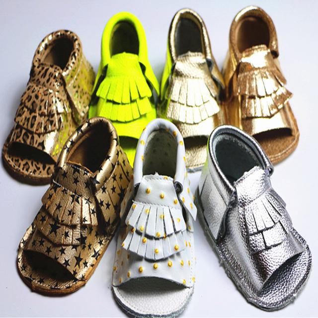 2016 Por Atacado de Couro Genuíno Venda Quente Borla Cor Sólida Decoração de Costura Moda Solado Macio Crianças Primeiros Caminhantes