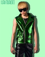2015 Men S Cool Fashion Green Punk Style Leather Vest Nightbar Singer Stage Costumes
