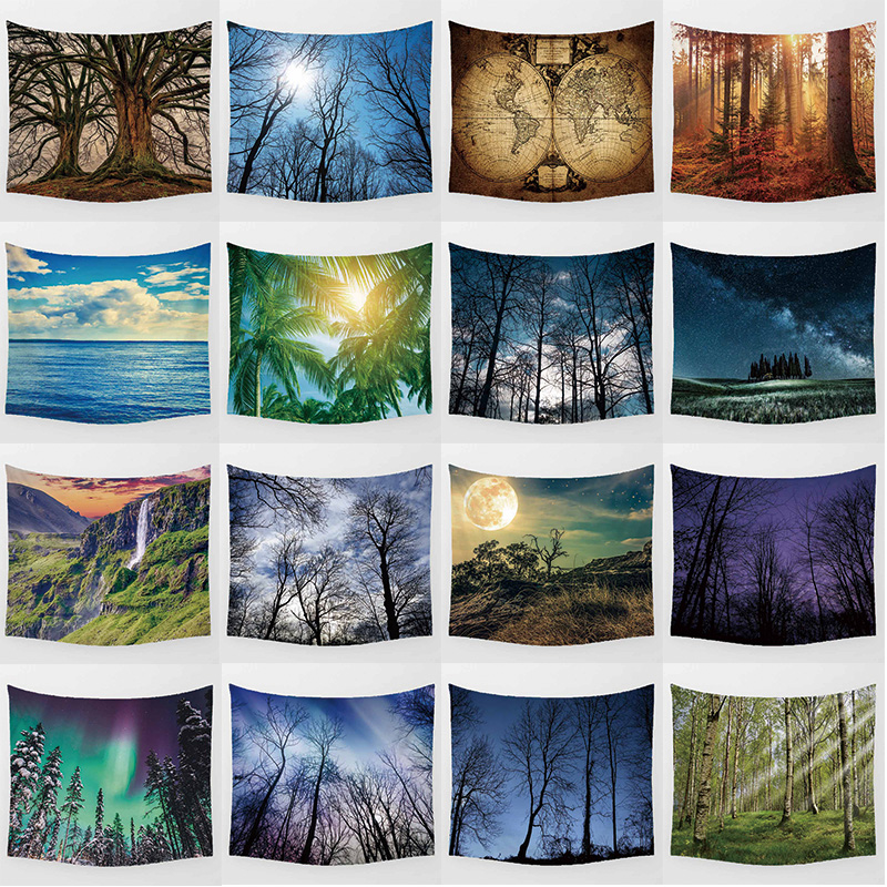 Forest tapestry beauty landscape flowers high definition printing large Wall Hanging Printed home decoration