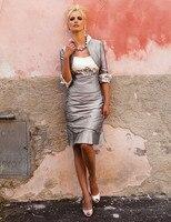 Индивидуальный заказ Vestido De Madrinha Бесплатная болеро Серебряная Бисер до колена Длина мать невесты платье Vestido Mae да Noiva