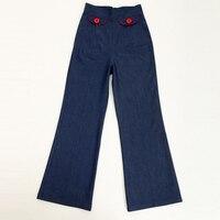 Candow Смотреть Поставщик Производитель Женщины Дизайнер 1950-х годов Одежда Плюс Размер Широкую Ногу Джинсы Американский Стиль Pin Up Flare Брюки