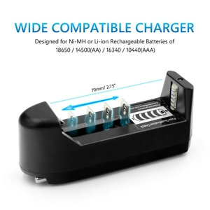 Image 5 - ABS Home Battery Charger Single Slot Wall Charger For 18650 26650 16340 Lithium 18350 Ni mh/cd Battery Aa Aaa EU/ US Type